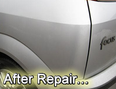 Car Dents Removal - Photograph of dent repair after treatment